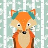 Fox no fundo de árvores de vidoeiro ilustração do vetor