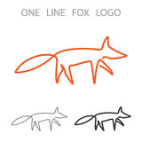 Fox. One Line Logo. Minimalism Style Logotype. Vector Stock Photo