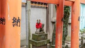 Fox opiekuny przy Gojoten jinja świątynią przy Ueno parkiem obrazy royalty free