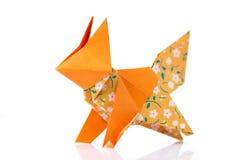 Fox origami model na bielu Obraz Stock
