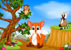 Fox, owl and lemur with mountain cliff scene vector illustration