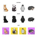 Fox, panda, hedgehog, penguin and other animals.Animals set collection icons in cartoon,black,flat style vector symbol. Stock illustration royalty free illustration