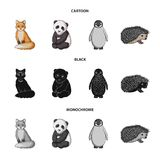 Fox, panda, hedgehog, penguin and other animals.Animals set collection icons in cartoon,black,monochrome style vector. Symbol stock illustration vector illustration