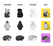 Fox, panda, hedgehog, penguin and other animals.Animals set collection icons in cartoon,black,outline,flat style vector. Symbol stock illustration royalty free illustration