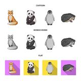 Fox, panda, hedgehog, penguin and other animals.Animals set collection icons in cartoon,flat,monochrome style vector. Symbol stock illustration vector illustration