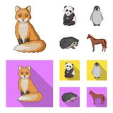 Fox, panda, hedgehog, penguin and other animals.Animals set collection icons in cartoon,flat style vector symbol stock. Illustration stock illustration