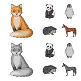 Fox, panda, hedgehog, penguin and other animals.Animals set collection icons in cartoon,monochrome style vector symbol. Stock illustration Royalty Free Stock Photography