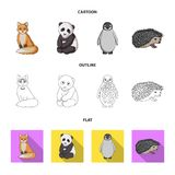 Fox, panda, hedgehog, penguin and other animals.Animals set collection icons in cartoon,outline,flat style vector symbol. Stock illustration stock illustration