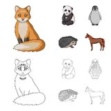 Fox, panda, hedgehog, penguin and other animals.Animals set collection icons in cartoon,outline style vector symbol. Stock illustration stock illustration