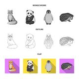 Fox, panda, hedgehog, penguin and other animals.Animals set collection icons in flat,outline,monochrome style vector. Symbol stock illustration royalty free illustration