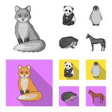 Fox, panda, hedgehog, penguin and other animals.Animals set collection icons in monochrome,flat style vector symbol. Stock illustration vector illustration