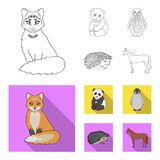 Fox, panda, hedgehog, penguin and other animals.Animals set collection icons in outline,flat style vector symbol stock. Illustration stock illustration