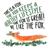 Fox with parsley. Watercolor illustration of a fox running with parsley in the teeth Royalty Free Stock Image