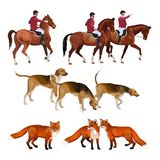 Fox polowania set ilustracja wektor