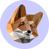 Fox in a polygon style. Fashion illustration of the trend in sty. Le on a blue background. Icon, illustration for prints Stock Photography