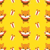 Fox and present box, christmas seamless pattern theme, for use a royalty free illustration