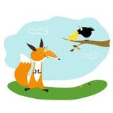 Fox, queso y cuervo Imagenes de archivo