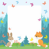 Fox and rabbit background Royalty Free Stock Photo