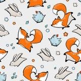 Fox, rabbit, chicken seamless pattern. Vector illustration royalty free illustration