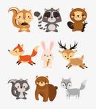 fox rabbit deer squirrel raccoon beaver skunk and bear icons ima Stock Photo