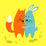 Fox and rabbit friends hugging vector illustration