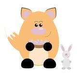 Fox and Rabbit Happy. Funny cartoon happy fox and his rabbit friend Royalty Free Stock Photo