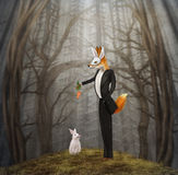 Fox and rabbit Stock Images