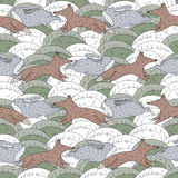 Fox and rabbit pursuit seamless background pattern Royalty Free Stock Photos