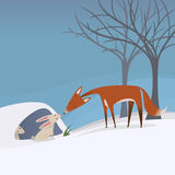 Fox and rabbit in a winter snowy scene Stock Image
