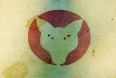 Fox in red circle on canvas stock image