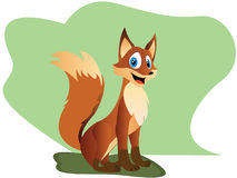 Cute cartoon fox. Fox with the red fur and a bushy tail. Vector illustration Stock Image