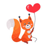 Fox with Red Heart Shaped Balloon in Paws Isolated Stock Images