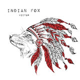 Fox in the red indian roach. Indian feather headdress of eagle