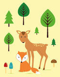 Fox and roe in the forest. Cute fox and roe in the forest - kids poster Stock Image