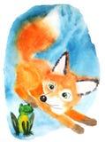 Fox rojo mullido en la sorpresa que mira la rana verde stock de ilustración