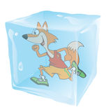 Fox Running Frozen in Ice Cube Royalty Free Stock Photos