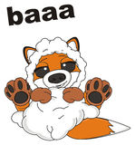 Fox say baa. Happy sly fox in sheep suit say baa Royalty Free Stock Photos