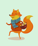 Fox. Seasons greeting card with hipster animal. Flat design illustration in vector. Autumn animal concept. For print, postcard, web, social media and t-shirt Royalty Free Stock Photography