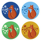 Fox and seasons set Royalty Free Stock Image