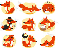 Fox set. Cute Fox cartoon  illustration Royalty Free Stock Images