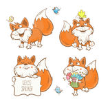 Fox set. Spring cartoon funny fox set. Flowers, butterflies and birds. Vector image. Collection for kids Stock Photo