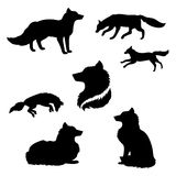 Fox set vector. Fox set of black silhouettes. Icons and illustrations of animals. Wild animals pattern vector illustration
