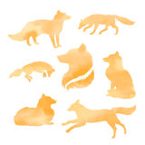 Fox set of watercolor vector silhouettes. Fox set of watercolor vector orange silhouettes vector illustration