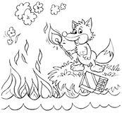 Fox sets fire to a sea. Black-and-white illustration (coloring page): fox strikes a match and sets fire to a sea Royalty Free Stock Photography