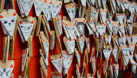 Fox Shaped Praying Cards in Kyoto Stock Images