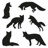 Fox silhouette set. Fox illustration silhouette vector set stock illustration