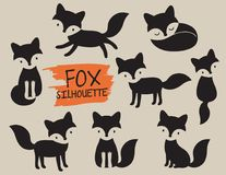 Fox Silhouette Vector Illustration. Simple fox silhouette vector illustration. Black cutout fox graphic Royalty Free Stock Photos