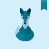 Fox. Single Flat Autumn Icon. Simple and Minimalistic Style. Vector Stock Photo