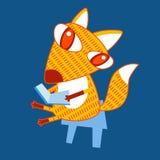 Fox Sit Holding Book de bande dessinée Image stock