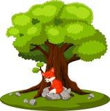 Fox sitting on the stone. Illustration of fox sitting on the stone royalty free illustration
